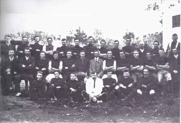 Forest Range Football Club - 1949, in front of the old Forest Range Hall.
