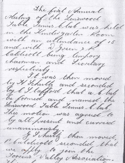 Page of of the minutes of the inaugural meeting of the Lenswood Table Tennis Club.